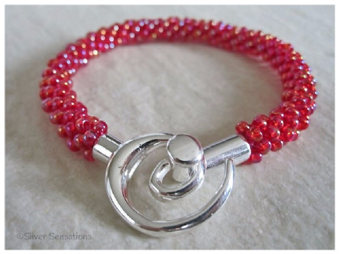Rainbow Raspberry Red Beaded & Woven Kumihimo Seed Bead Bracelet